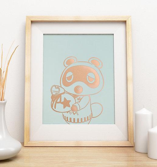Affiche Animal Crossing Tom Nook Rose gold