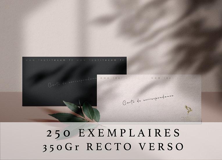 Carte de correspondance rectangulaire 13 cm x 8 cm RECTO VERSO