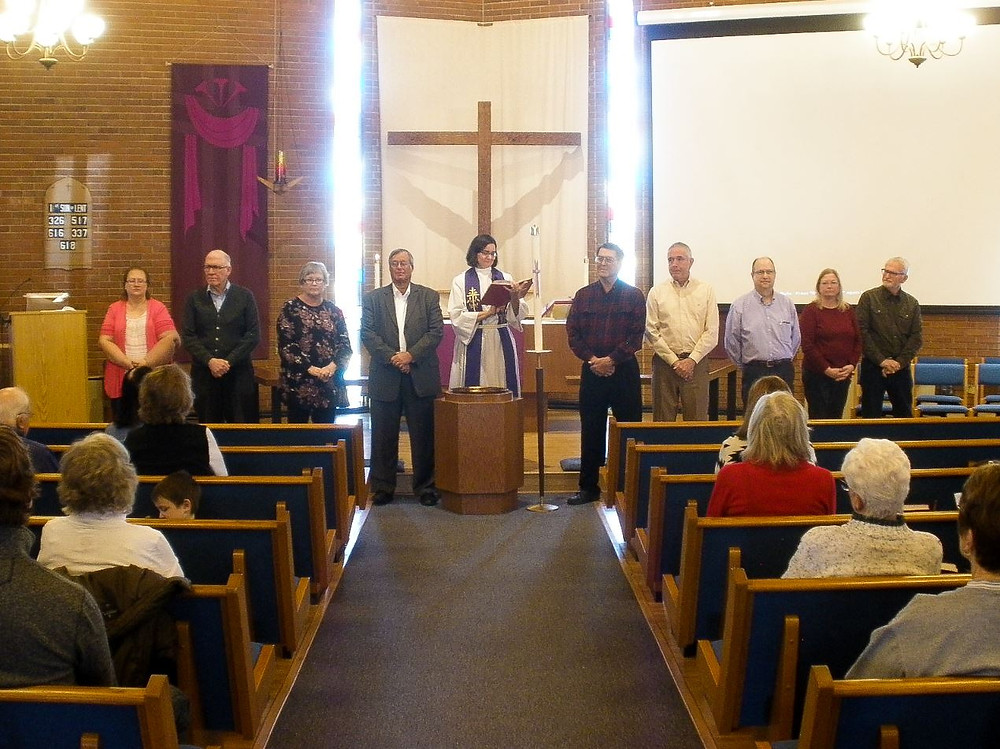 Installation of the 2018 Church Council during a Sunday service