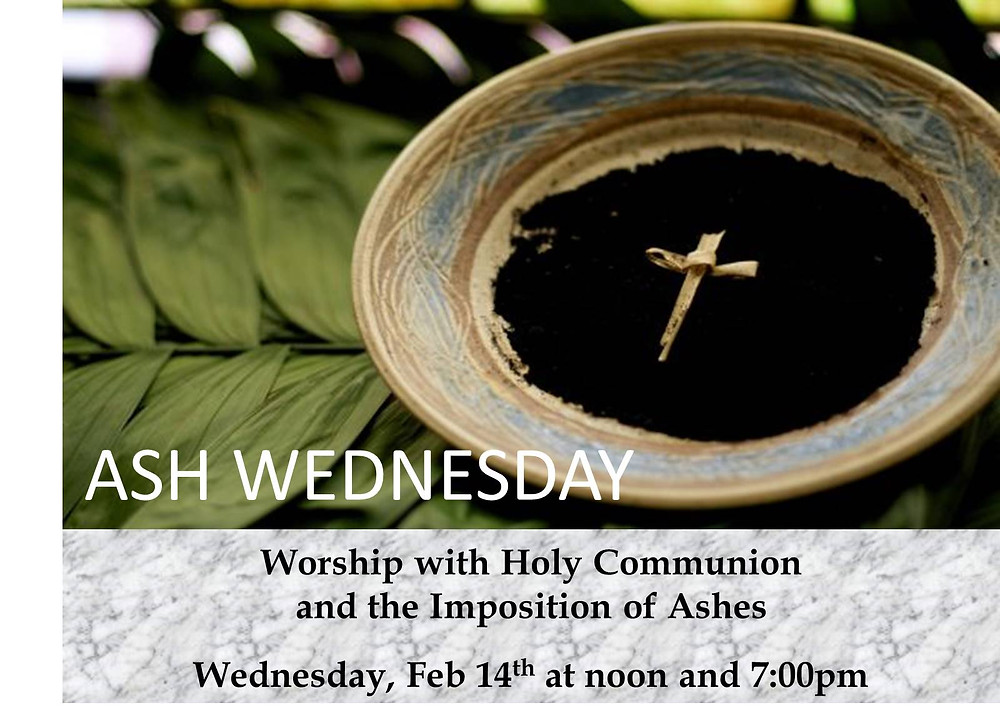 Ash Wednesday Schedule - Noon and 7pm