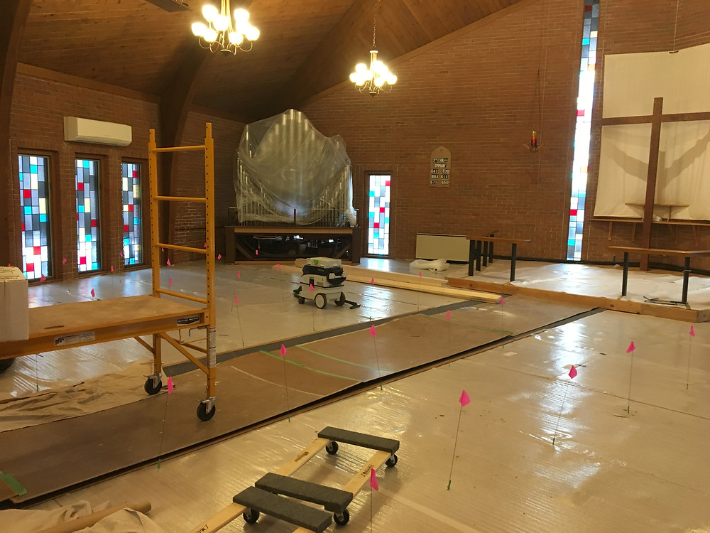 Damaged Sanctuary flooring will be replaced
