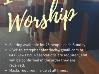 Resuming In-Person Worship - Sunday Sept 27th at 9am