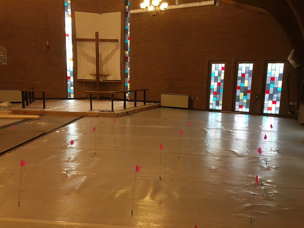 Sanctuary with pews and flooring removed