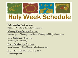 2019 Holy Week Schedule