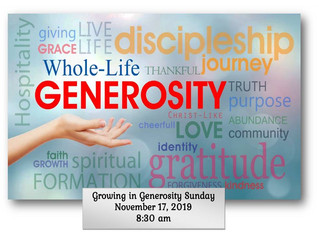 """Growing in Generosity"" Sunday"