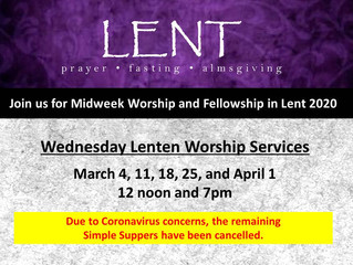 Midweek Lenten Worship Schedule
