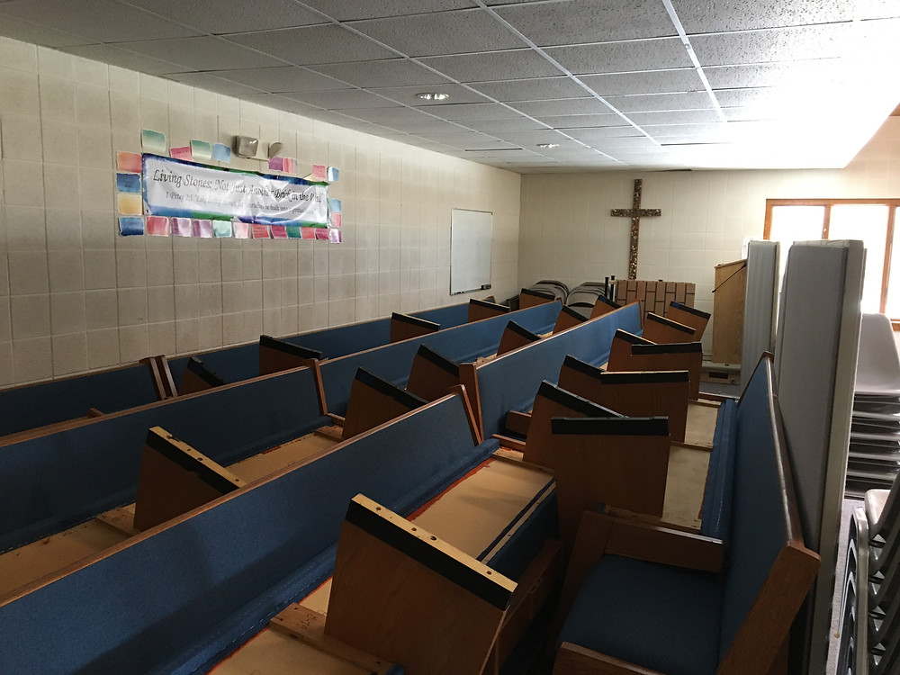 Pews in Fellowship Hall