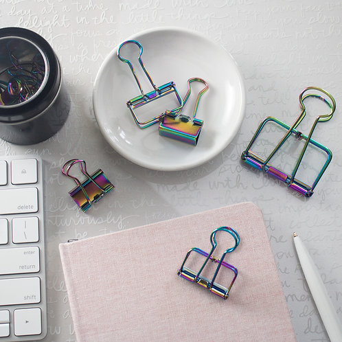 Iridescent Binder Clips