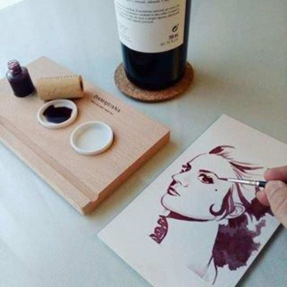 Wine Tint. Dama Juana. Winery Luzon. Murcia. Miguel Angel Lozano. Art. Wine art. Paint with wine tint.