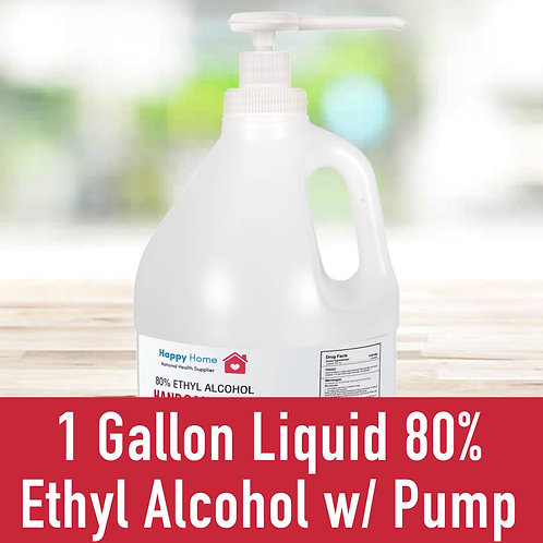 1 Gallon Liquid 80% Ethyl Alcohol W/ Pump