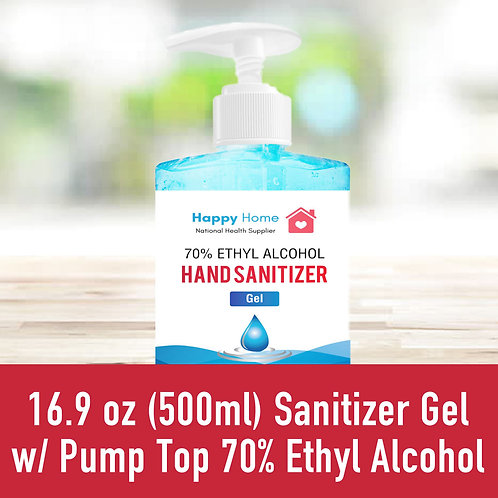 16.9 oz (500ml) Sanitizer Gel w/ Pump Top 70% Ethyl Alcohol