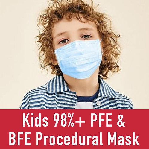 Kids 98%+ PFE & BFE Procedural Mask