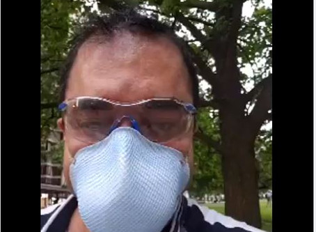 Facemasks for All starts supporting protests at statehouse with free sanitizer and masks daily.