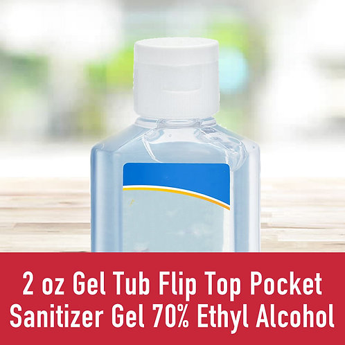2 oz Gel Tub Flip Top Pocket Sanitizer Gel 70% Ethyl Alcohol
