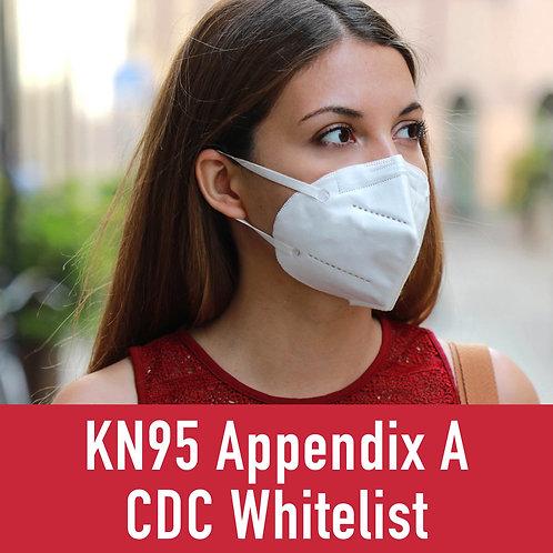 CDC Appendix A White List KN95 Mask