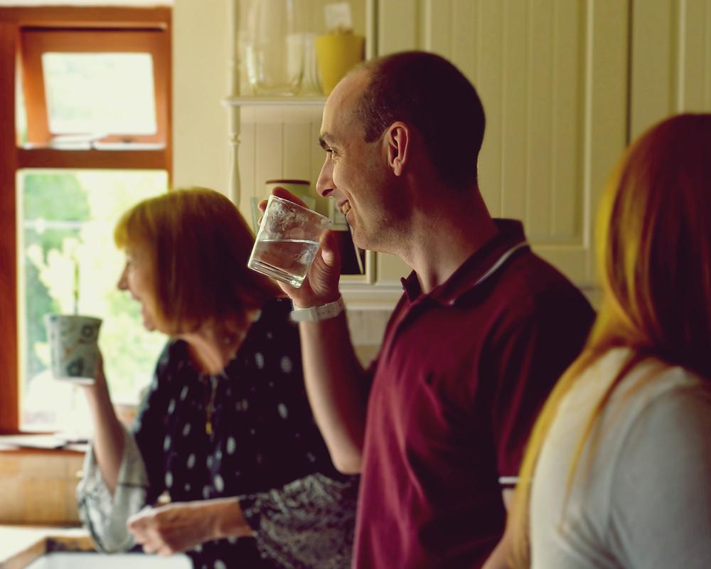 drinking, laughing, wedding preparation