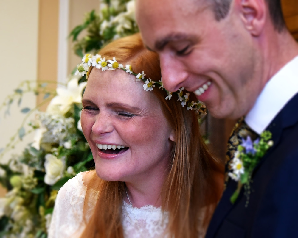 laughing, smiles, vows, ceremony, daisy chain
