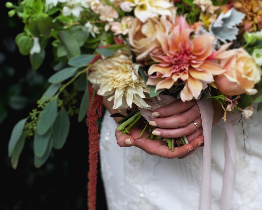 beautiful flowers, blush, pink, orange, engagement ring