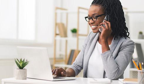 Female Entrepreneur. Cheerful African Am