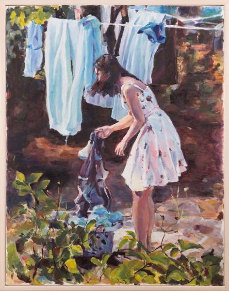 Shira hanging laundry,2014