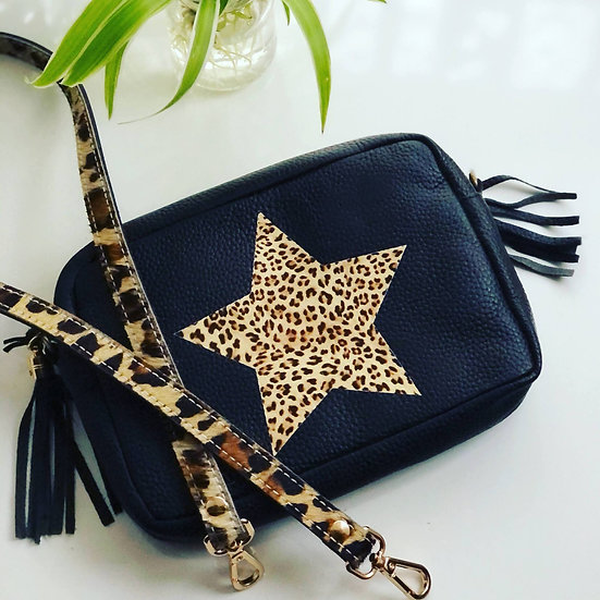 LEOPARD STAR CAMERA CROSSBODY CLUTCH BAG