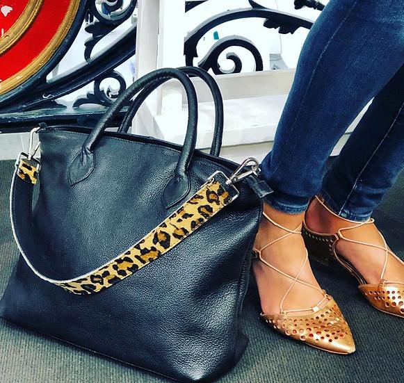 Grain Leather Ladies Black Business Bag
