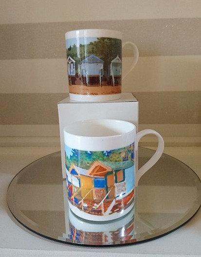 Beach Hut set of Mugs