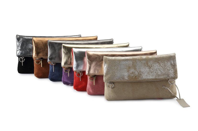 Leather Metallic 2 Way Bag