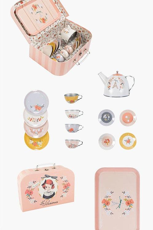 Tea set in case