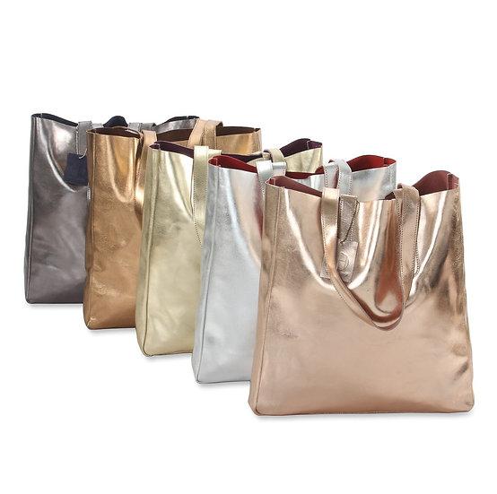 Metallic Leather Reversible Tote Bag