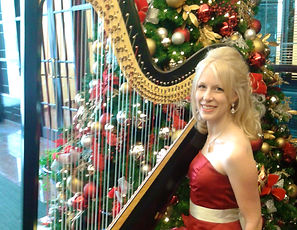 Christmas Tree with Harp and Harpist