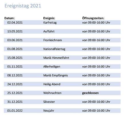 Öffnungszeiten 2021