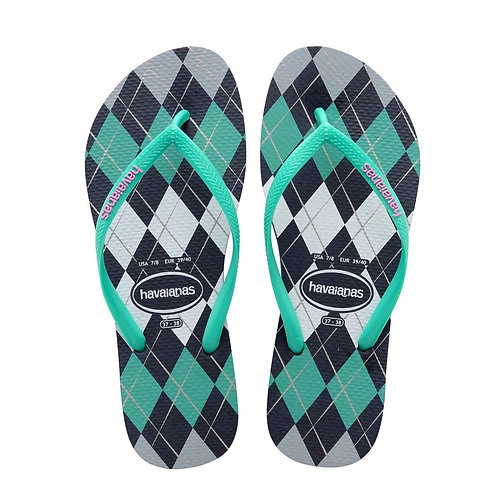 Havaianas Slim Retro Flip Flops Navy Blue/Green