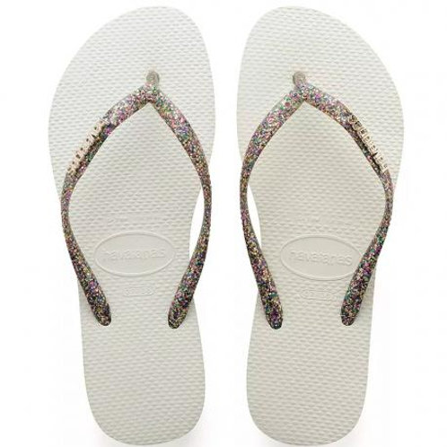 Slim Metallic flip flop White