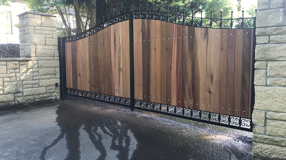 Milngavie Style Cedar & Iron Double Swing Gate