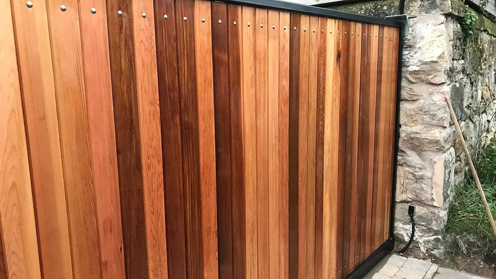 Ravelston Style Cedar Track Sliding Gate