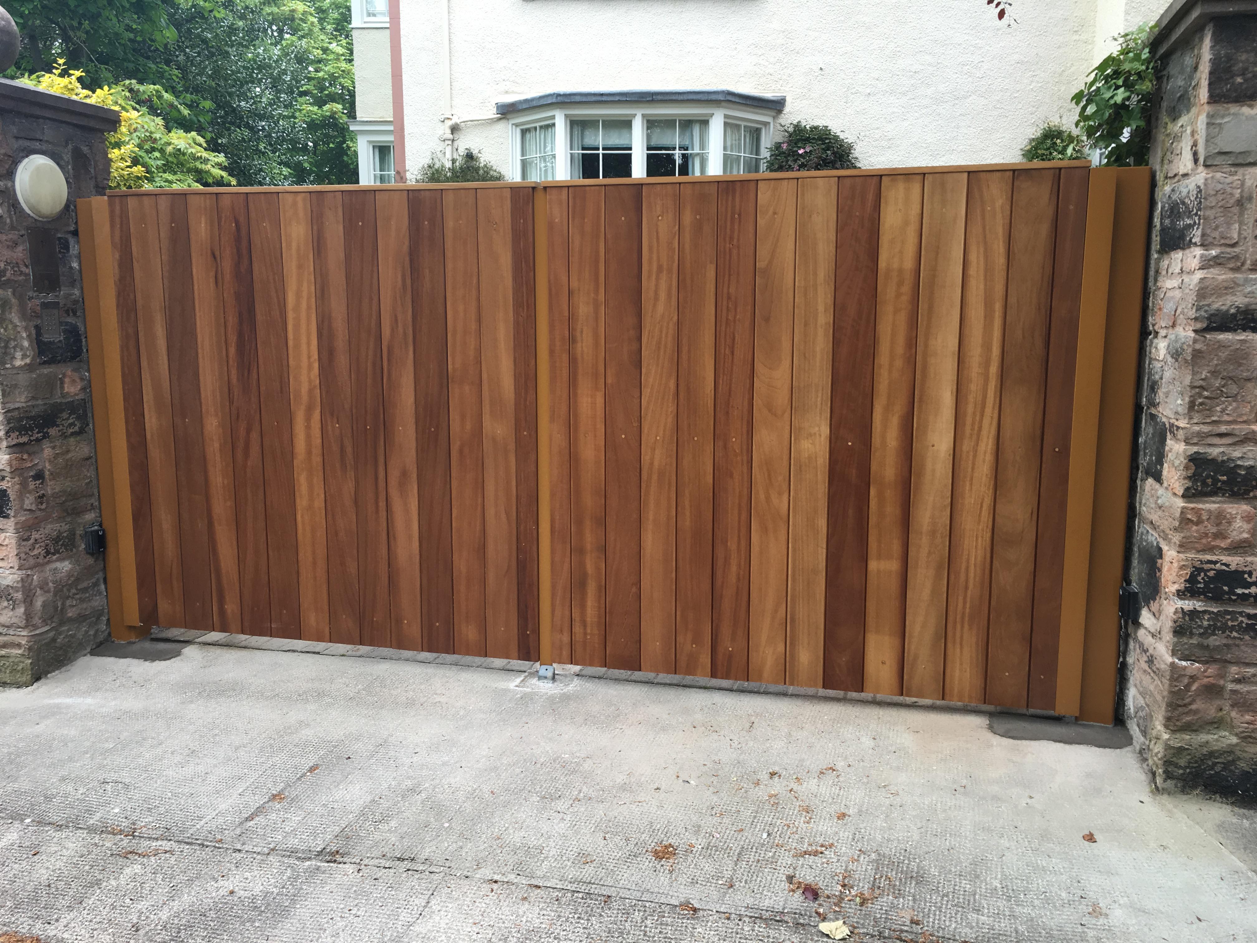 Iroko clad gates