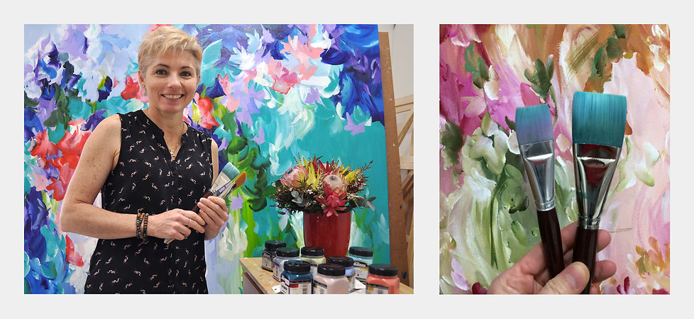 Flower artist Amber Gittins in her home studio creates colourful flower paintings that are for sale in her online art gallery. Worldwide shipping. Modern floral art for the home. Shop for floral paintings.