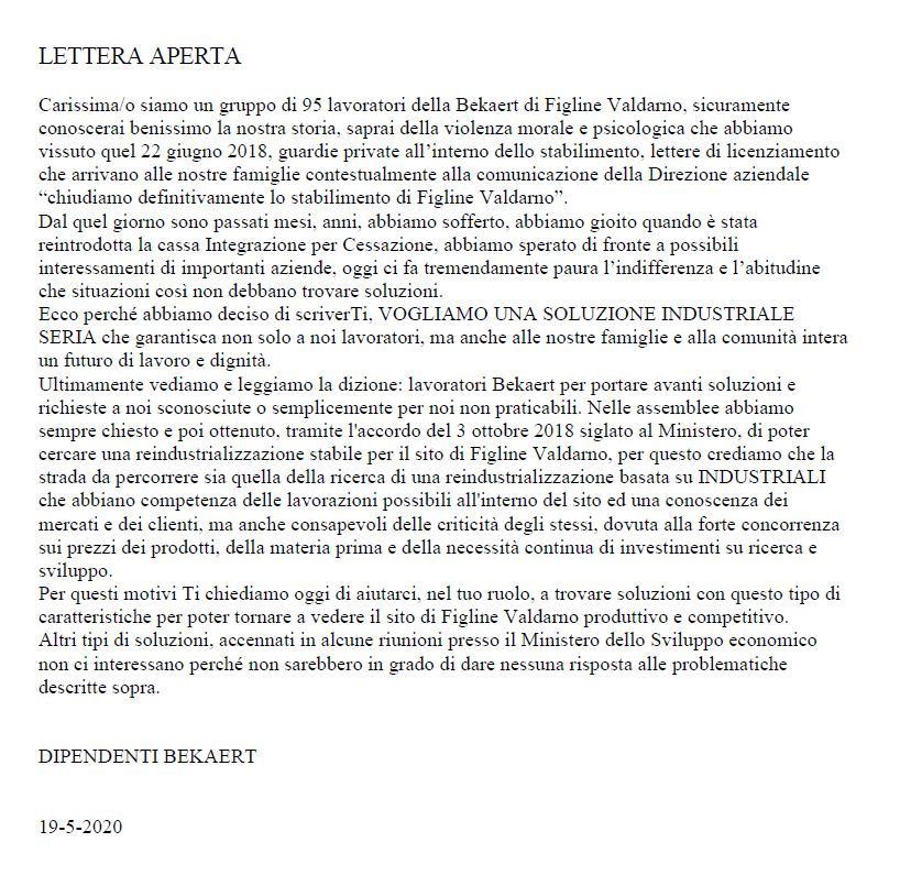 Bekaert - Lettera dei 100