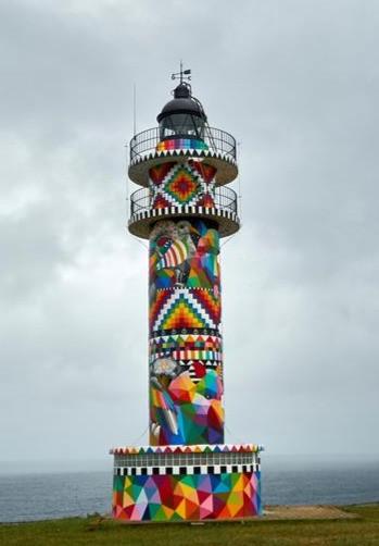 Okuda's work on the Lighthouse of Ajo in Cantabria (Spain)
