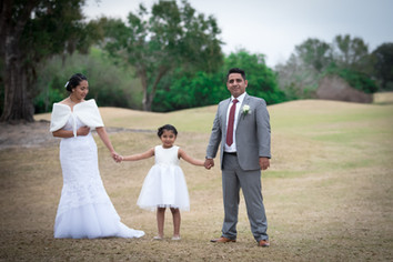 Flower girl, Bride and Groom