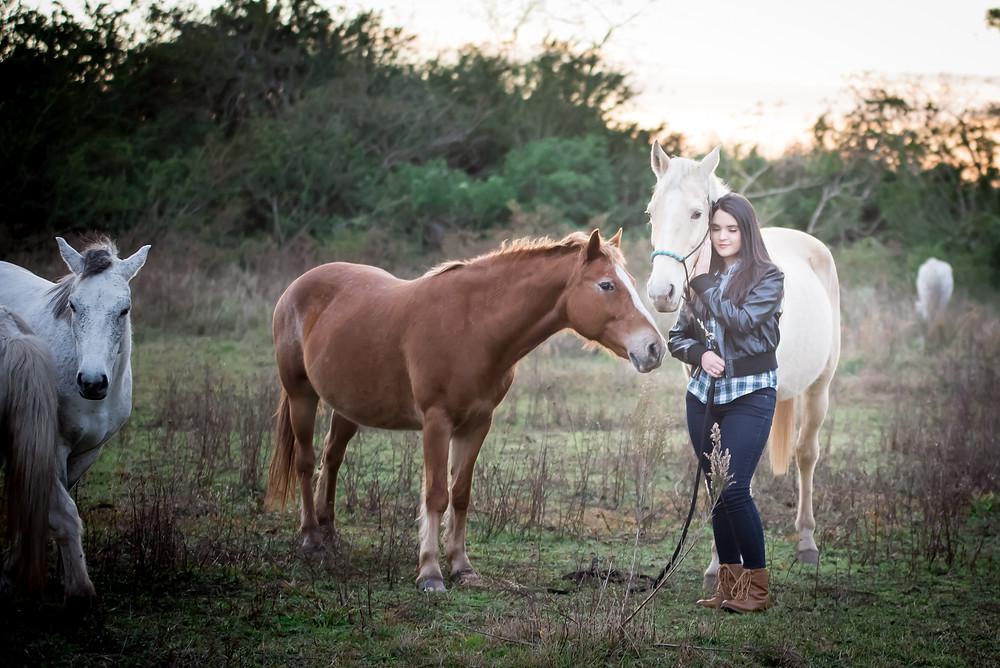 High School Senior with horses