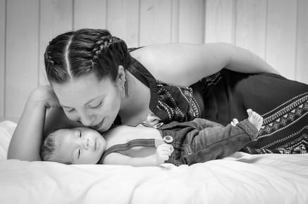 Newborn baby boy with mom