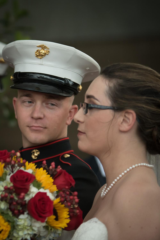 Groom admiring his gorgeous bride
