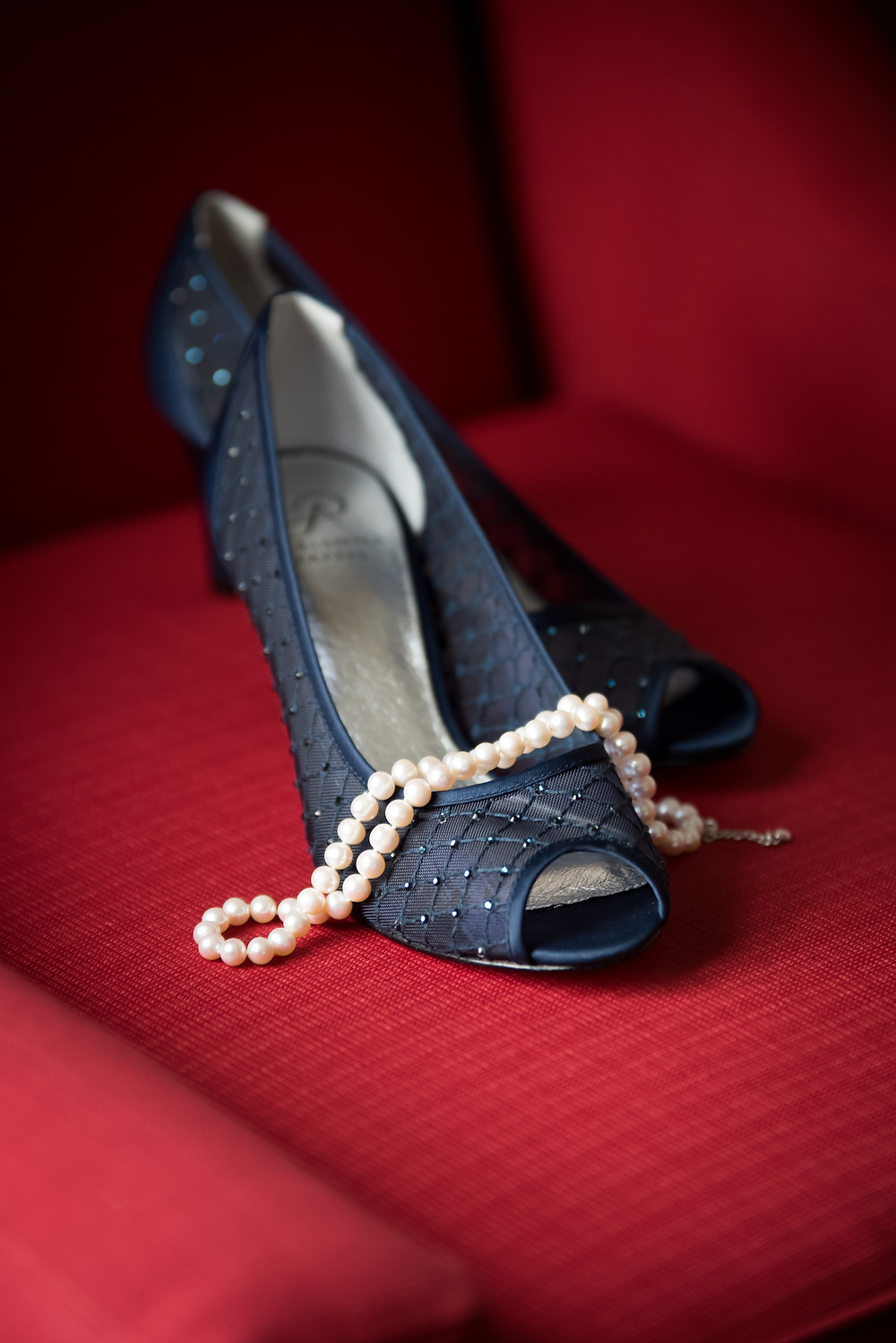 The bride wore beautiful blue shoes on wedding day