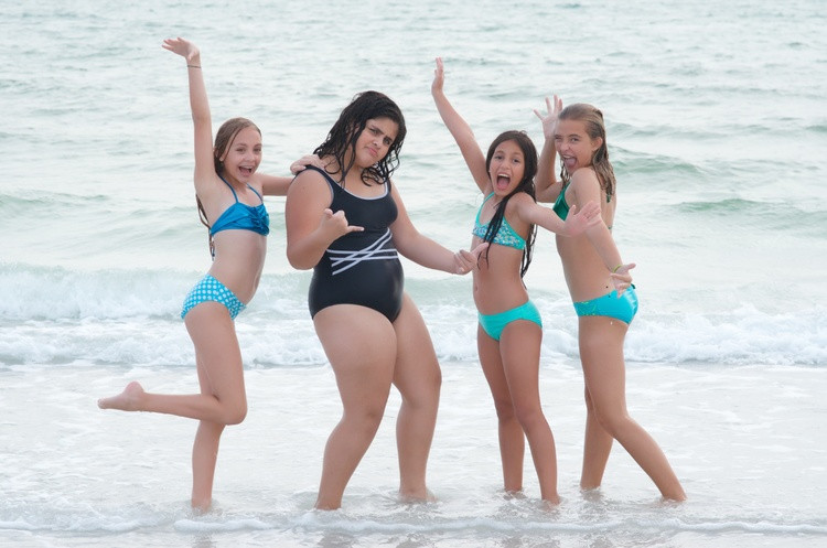 Fun girls having fun on mini vacation at Siesta Beach