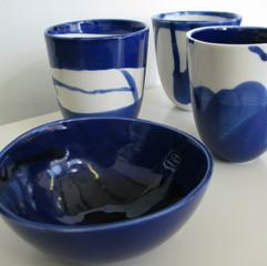 porcelain cups and bowl - cobalt glaze