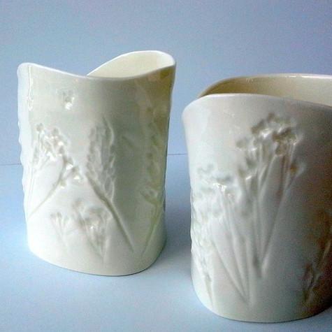 porcelain tea candle w' wild flowers