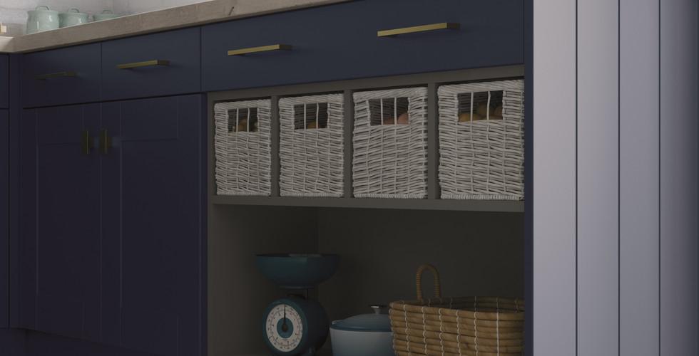 Open Display Storage with Wicker Baskets
