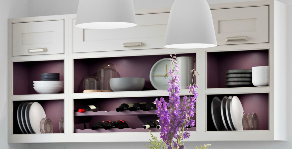 Open Display Wall Cabinets with Wine and